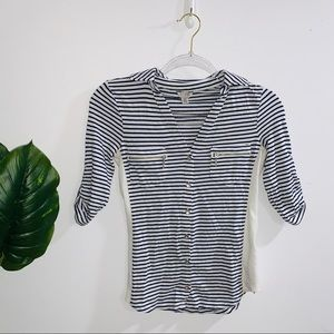 Guess Navy Blue & White Striped Quarter Sleeve